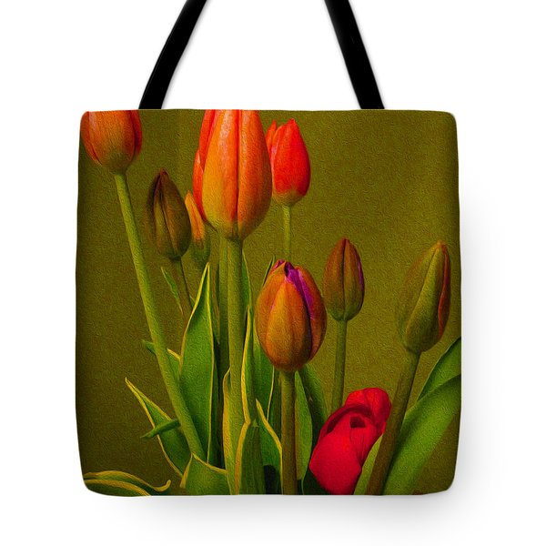 Tulips Against Green Tote Bag
