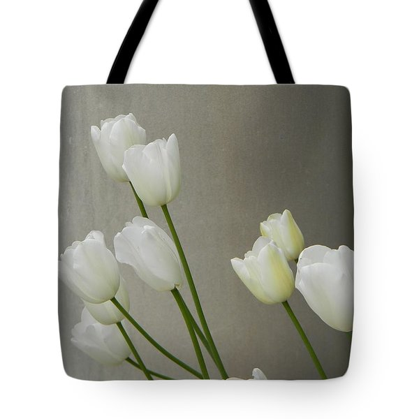 Tulips Against Pillar Tote Bag by Jean Goodwin Brooks