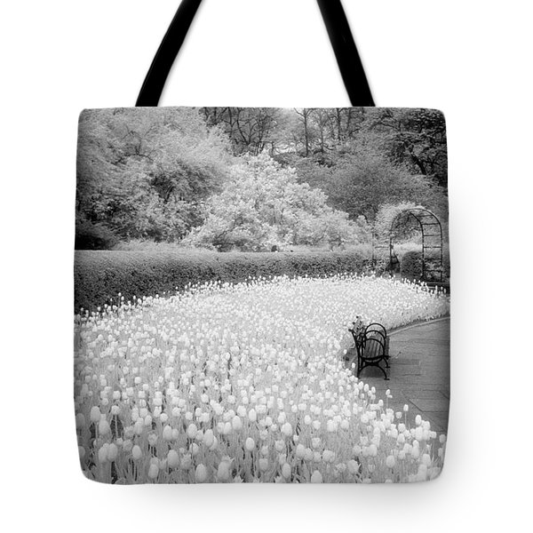 Tulips And Bench II Tote Bag