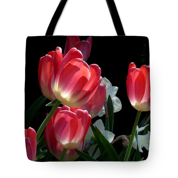 Tote Bag featuring the photograph Tulips And Daffodils by Lucinda Walter