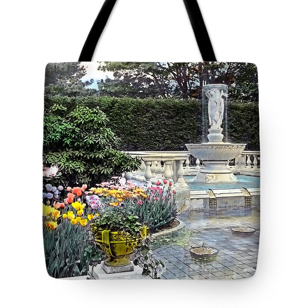 Tulips And Fountain Tote Bag by Terry Reynoldson