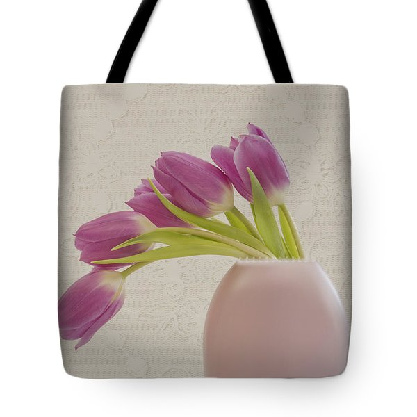 Tote Bag featuring the photograph Tulips And Lace by Sandra Foster