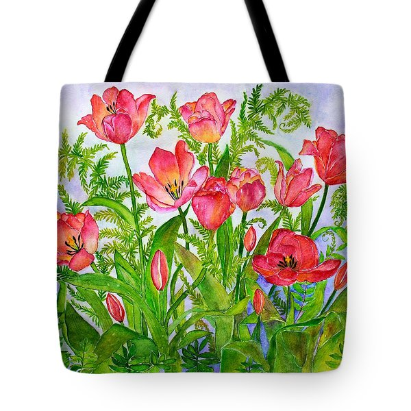 Tulips And Lacy Ferns Tote Bag