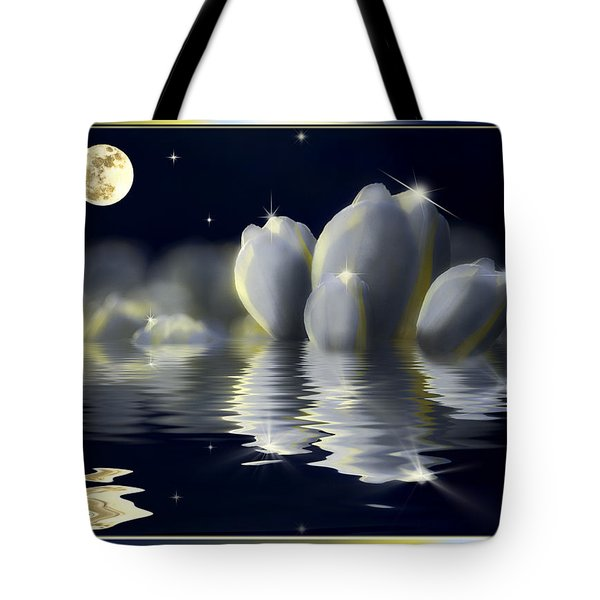 Tulips And Moon Reflection Tote Bag by Peter v Quenter