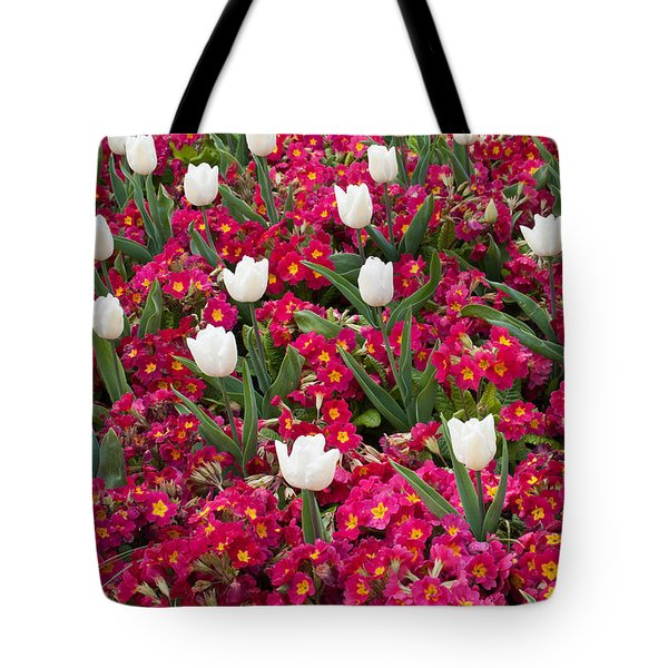 Tulips And Primroses Tote Bag by Geraldine Alexander