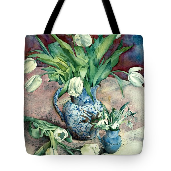 Tulips And Snowdrops Tote Bag by Julia Rowntree
