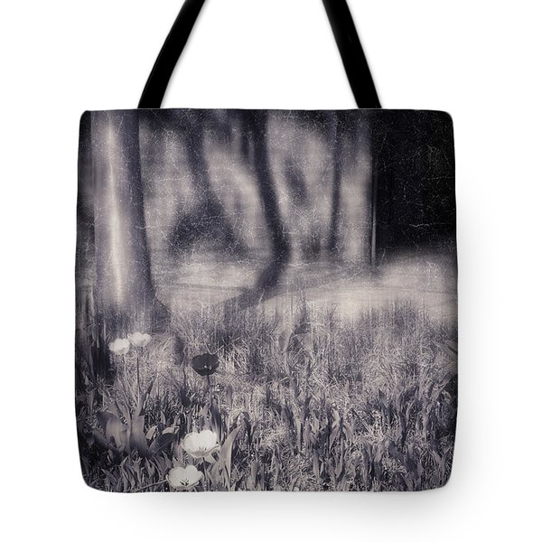 Tulips And Tree Shadow Tote Bag by Silvia Ganora