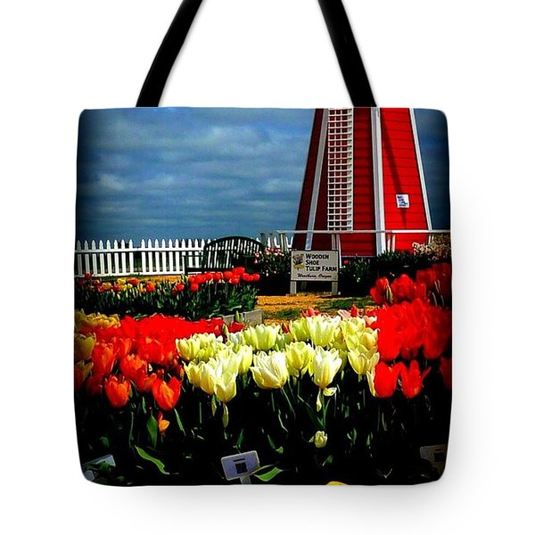 Tulips And Windmill Tote Bag by Susan Garren