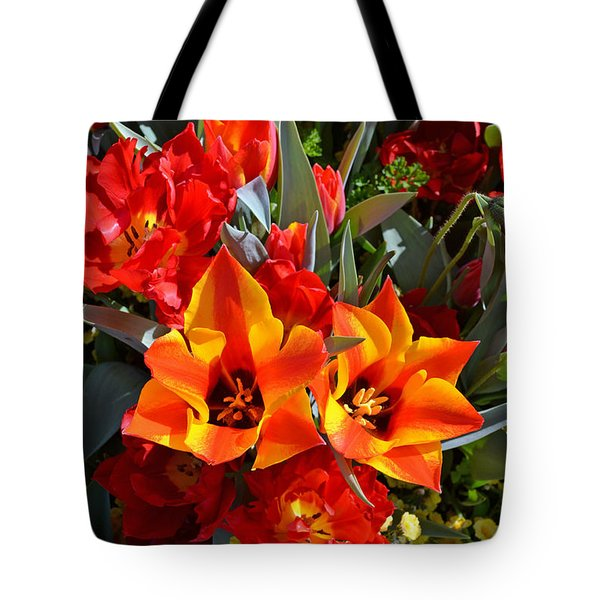 Tulips At The Pier Tote Bag by Holly Blunkall