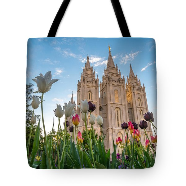 Tulips At The Temple Tote Bag
