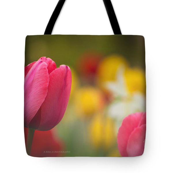Tulips Blooming Tote Bag by Rima Biswas