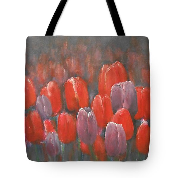 Tote Bag featuring the painting Tulips Blossom 2 by Jane See