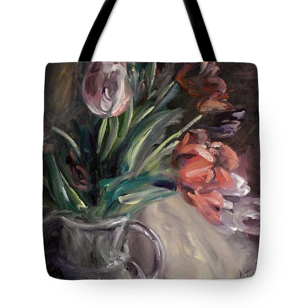 Tote Bag featuring the painting Tulips by Donna Tuten