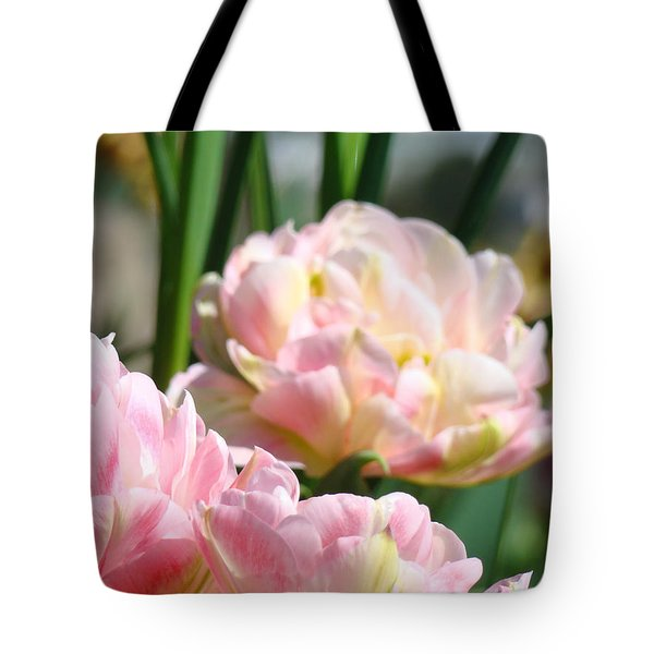 Tulips Flowers Garden Art Prints Pink Tulip Floral Tote Bag by Baslee Troutman