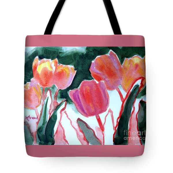 Tulips For The Love Of Patches Tote Bag by Kathy Braud