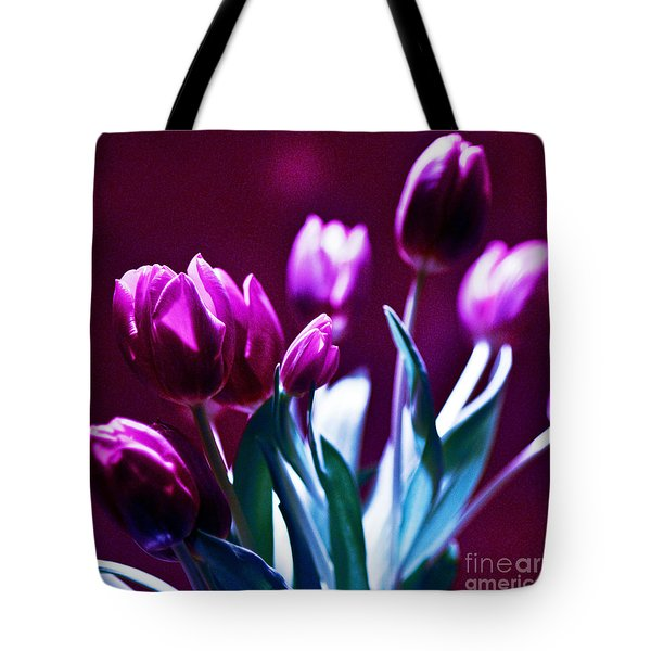 Tote Bag featuring the photograph Purple Tulips by Silva Wischeropp