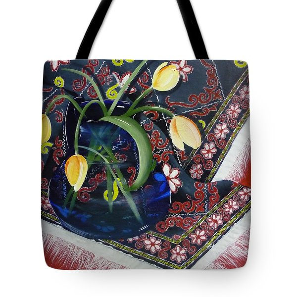 Tote Bag featuring the painting Tulips by Helen Syron
