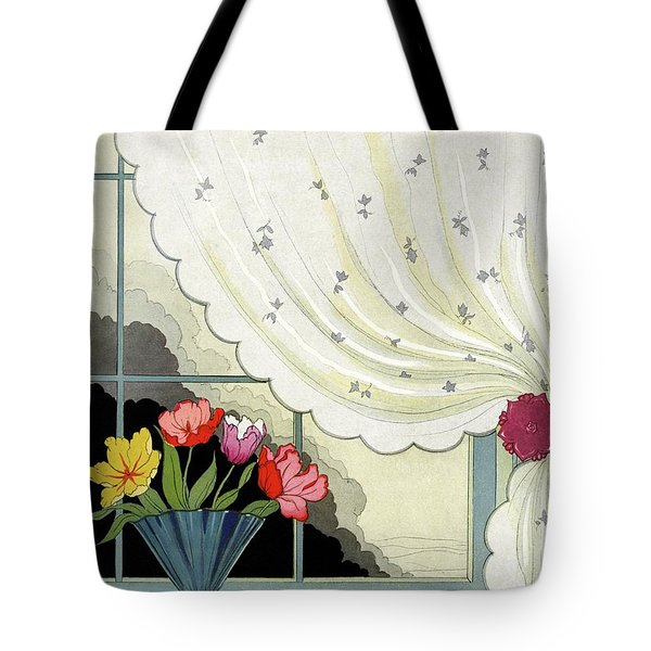 Tulips In A Fan-shaped Vase On A Window Sill Tote Bag