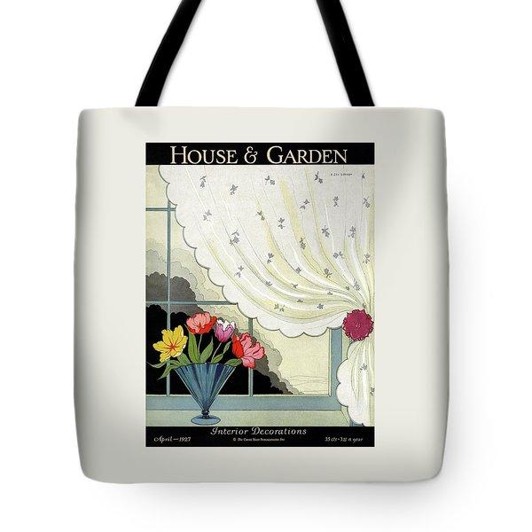 Tulips In A Fan-shaped Vase On A Window Sill Tote Bag