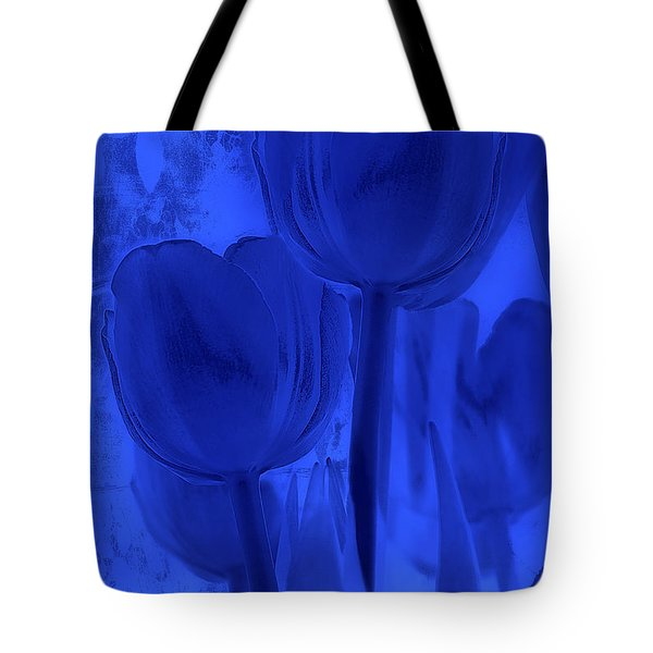 Tulips In Cobalt Blue Tote Bag