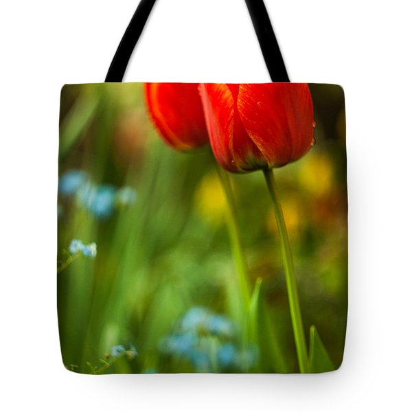 Tulips In Garden Tote Bag