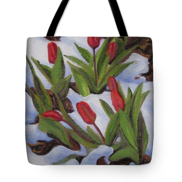 Tulips In Snow Tote Bag