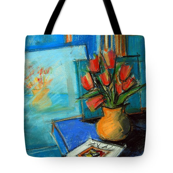 Tulips In The Mirror Tote Bag by Mona Edulesco