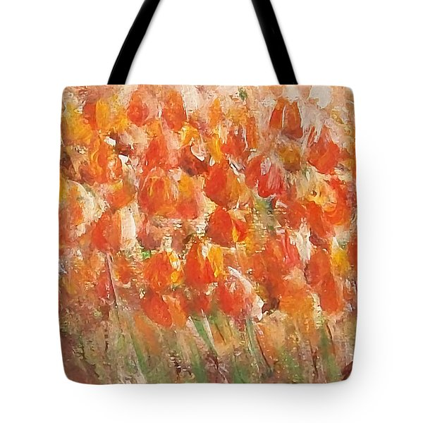 Tote Bag featuring the painting Tulips by Jane  See