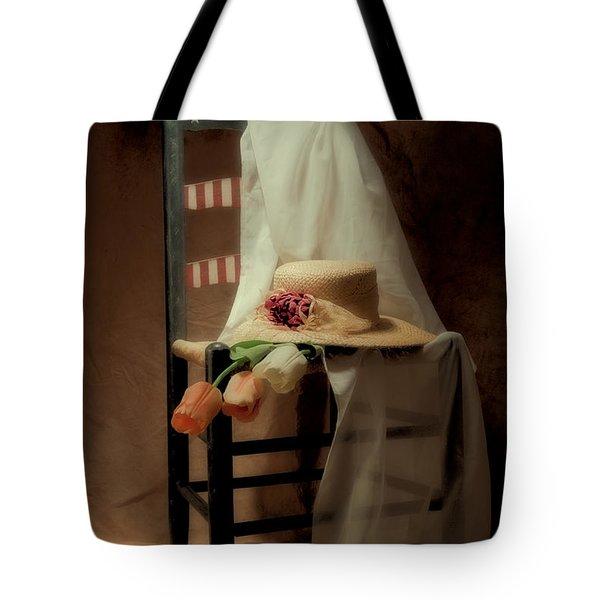 Tulips On A Chair Tote Bag by Tom Mc Nemar