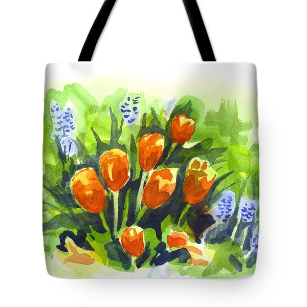 Tulips With Blue Grape Hyacinths Explosion Tote Bag by Kip DeVore