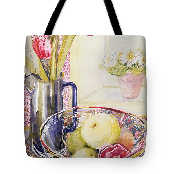 Tulips With Fruit In A Glass Bowl  Tote Bag by Joan Thewsey