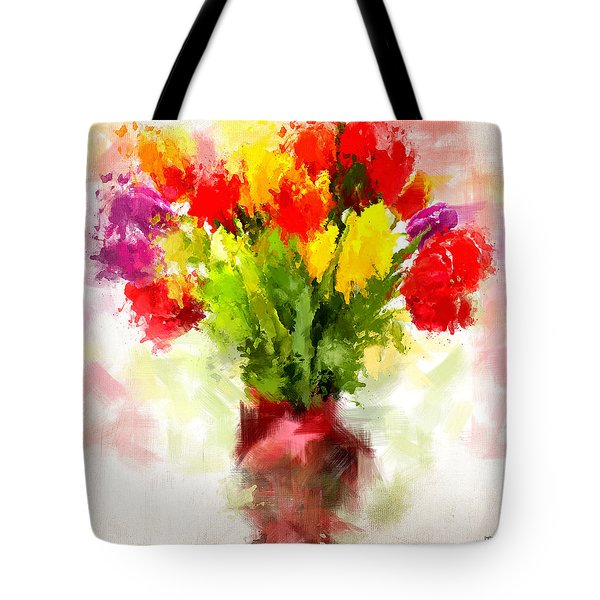 Tulips With Love Tote Bag by Lourry Legarde