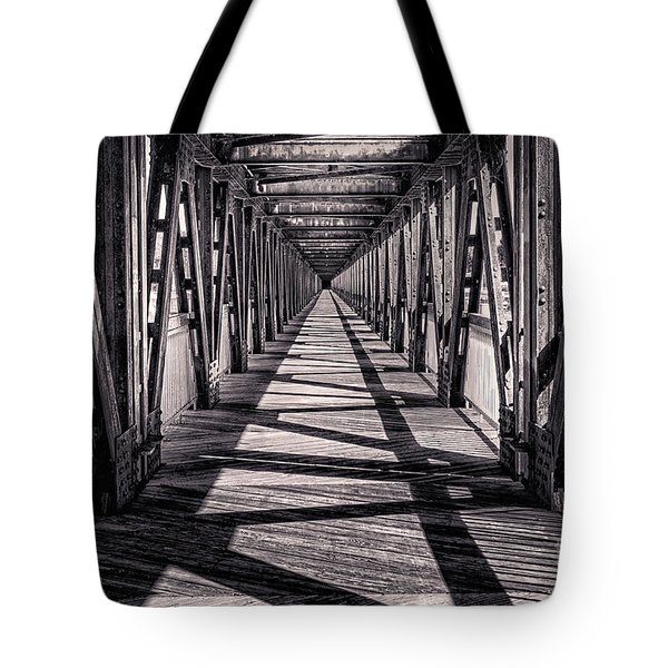 Tulsa Pedestrian Bridge In Black And White Tote Bag by Tamyra Ayles