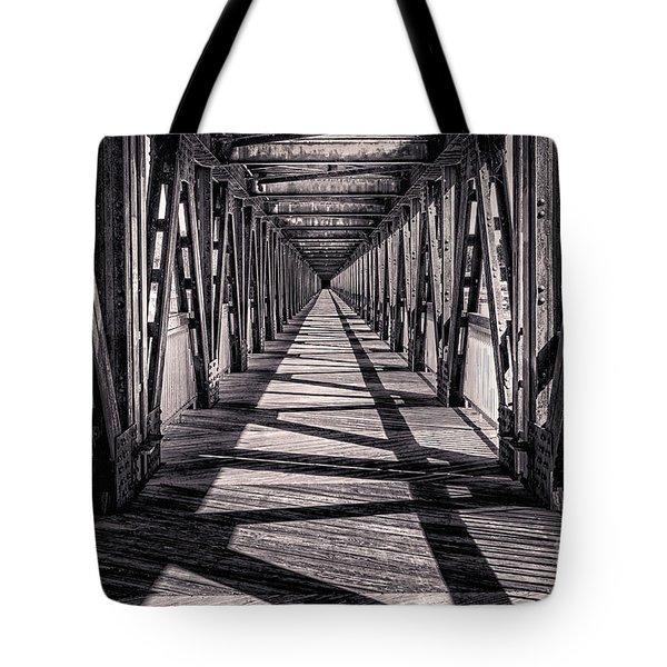 Tulsa Pedestrian Bridge In Black And White Tote Bag