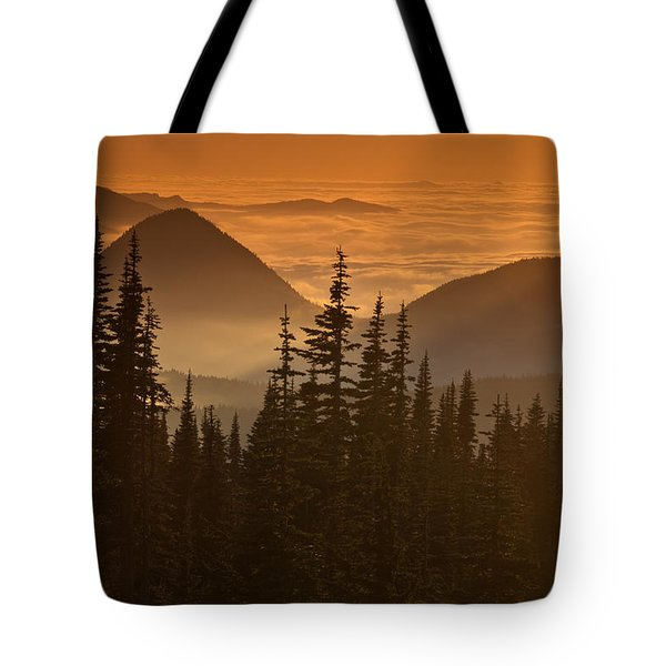 Tote Bag featuring the photograph Tumtum Peak At Sunset by Jeff Goulden
