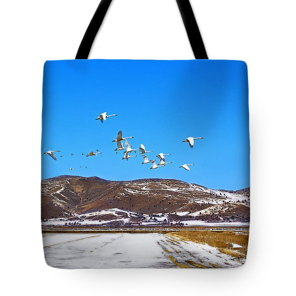 Tundra Swans Take Flight  Tote Bag