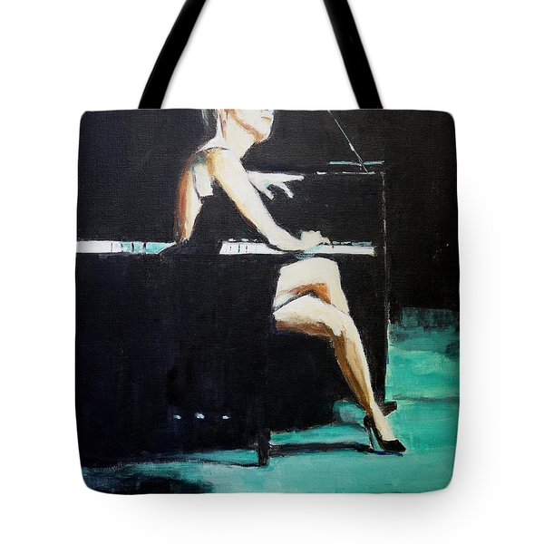 Tote Bag featuring the painting Tuning Out by Judy Kay