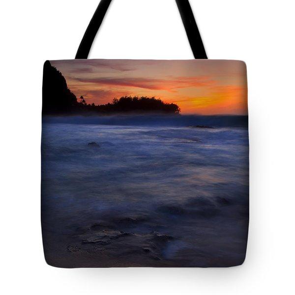 Tunnels Beach Dusk Tote Bag by Mike  Dawson
