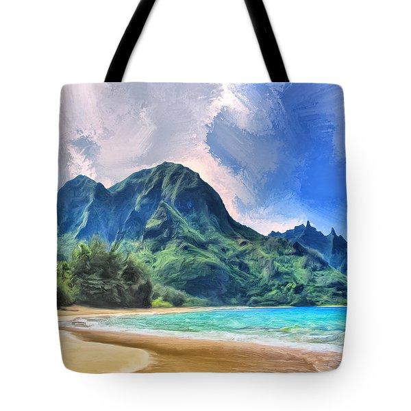 Tunnels Beach Kauai Tote Bag