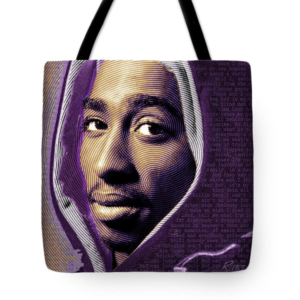 Tupac Shakur And Lyrics Tote Bag
