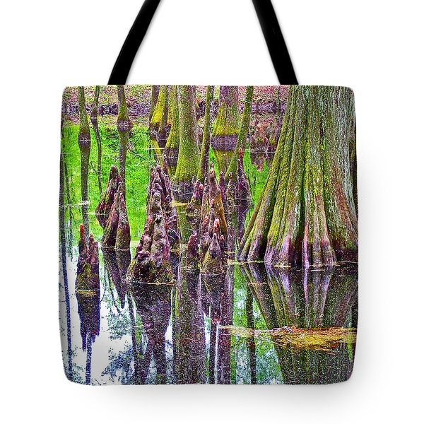 Tupelo/cypress Swamp Reflection At Mile 122 Of Natchez Trace Parkway-mississippi Tote Bag by Ruth Hager