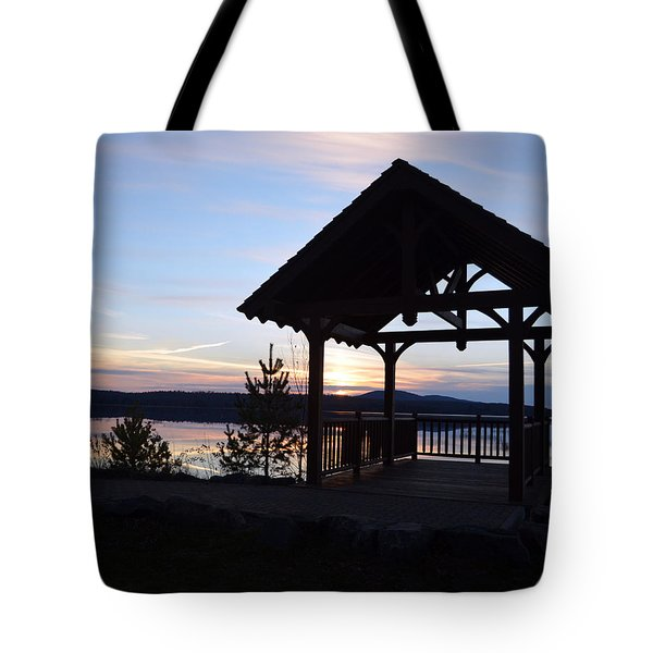 Tupper Lake Sunset Over Raquette Pond Tote Bag