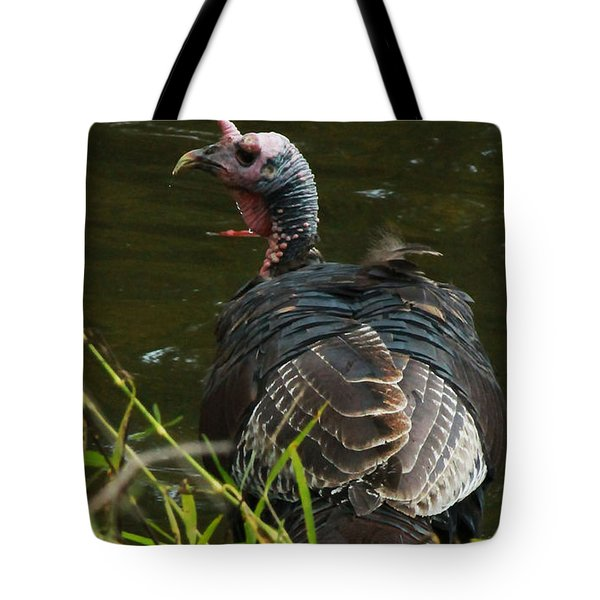 Turkey At Lake Tote Bag