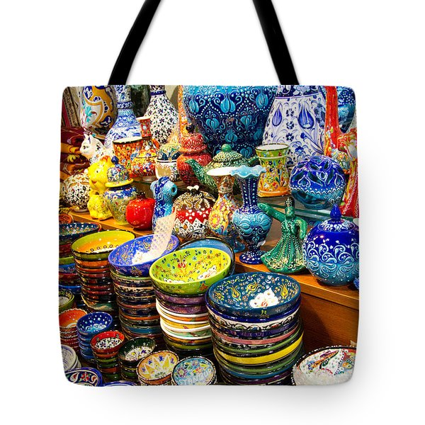 Turkish Ceramic Pottery 1 Tote Bag by David Smith