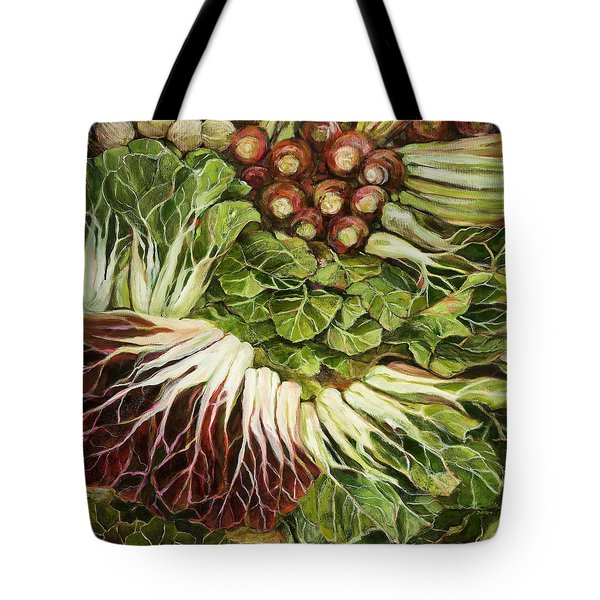 Turnip And Chard Concerto Tote Bag by Jen Norton