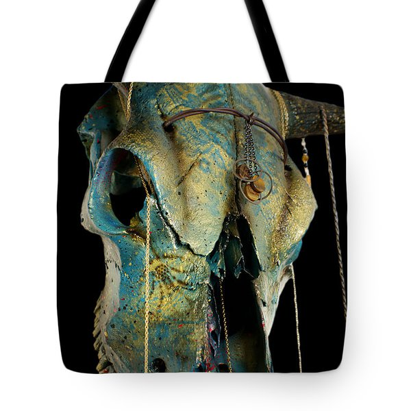 Turquoise And Gold Illuminating Steer Skull Tote Bag