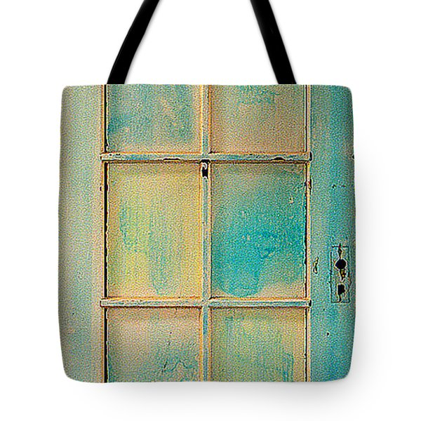 Turquoise And Pale Yellow Panel Door Tote Bag by Asha Carolyn Young