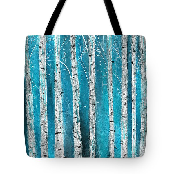 Turquoise Birch Trees II- Turquoise Art Tote Bag