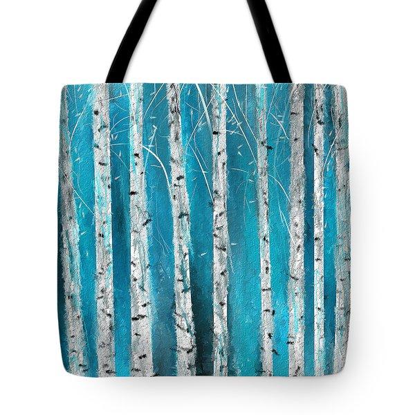 Turquoise Birch Trees II- Turquoise Art Tote Bag