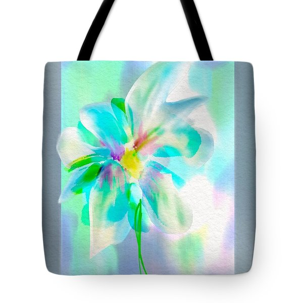 Tote Bag featuring the digital art Turquoise Bloom by Frank Bright